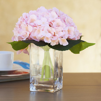 Blush Silk Hydrangea Arrangement in Clear Glass Vase With Faux Water