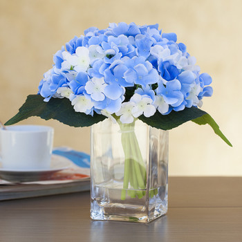 Blue Cream Silk Hydrangea Arrangement in Clear Glass Vase With Faux Water