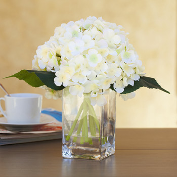 Peach Silk Hydrangea Arrangement in Clear Glass Vase With Faux Water