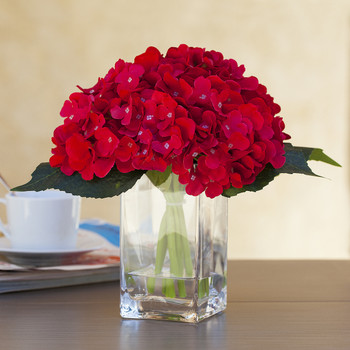 Red Silk Hydrangea Arrangement in Clear Glass Vase With Faux Water