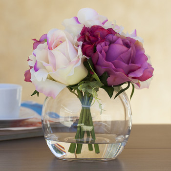 Purple Cream Silk Rose and Hydrangea Mixed Flower Arrangement in Glass Vase With Faux Water