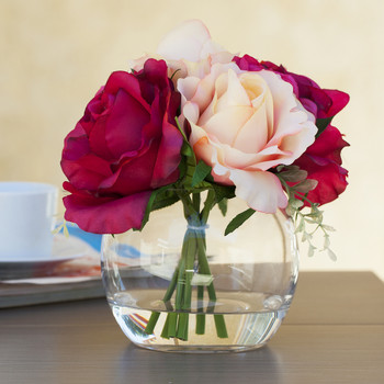 Red Beige Silk Rose and Hydrangea Mixed Flower Arrangement in Glass Vase With Faux Water