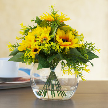 Mixed Silk Sunflower Arrangement in Clear Glass Vase With Faux Water