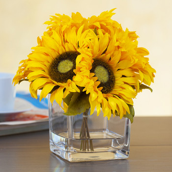 7 Heads Silk Sunflower Arrangement in Cube Glass Vase With Faux Water