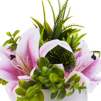 Pink Real Touch Tiger Lily with Mixed Greenery in White Ceramic Vase