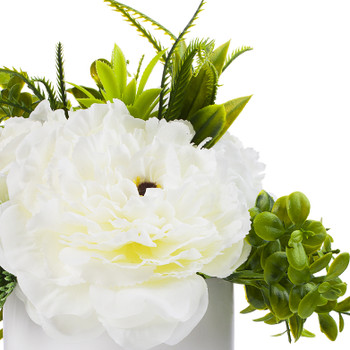 3 Large Cream Silk Peony Flower with Mixed Greenery in White Ceramic Vase
