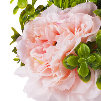 3 Large Pink Silk Peony Flower with Mixed Greenery in White Ceramic Vase