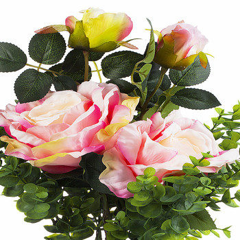 2 Large Pink Silk Rose Flower and Mixed Greenery in Clear Glass Vase with River Rock