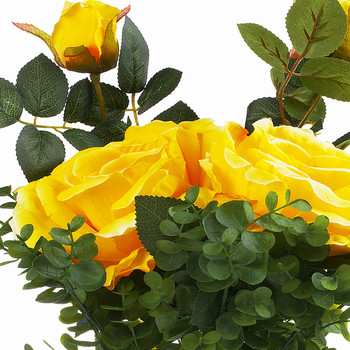 2 Large Yellow Silk Rose Flower and Mixed Greenery in Clear Glass Vase with River Rock