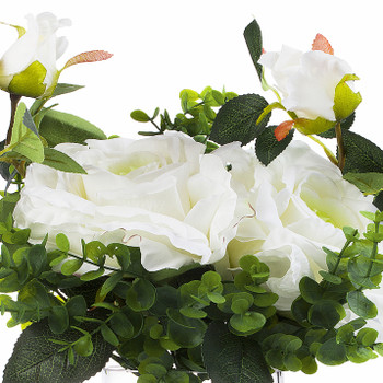 2 Large White Silk Rose Flower and Mixed Greenery in Clear Glass Vase with River Rock