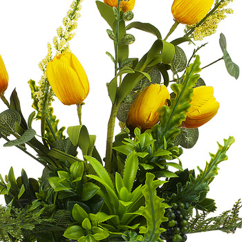 Yellow Silk Tulip Flower and Mixed Greenery in Clear Glass Vase with Faux Water