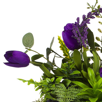 Purple Silk Tulip Flower and Mixed Greenery in Clear Glass Vase with Faux Water