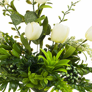 Silk Tulip Flower and Mixed Greenery in Clear Glass Vase with Faux Water