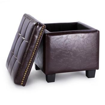 Vina 15 Inches Modern Elegant Leather Square Storage Ottoman(Chocolate)