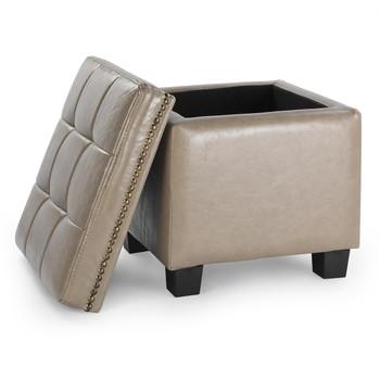 Vina 15 Inches Modern Elegant Leather Square Storage Ottoman(Brown)