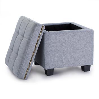 Tala 15 Inches Modern Linen Fabric Square Storage Ottoman(Grey)