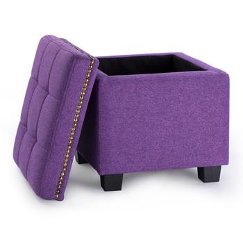 Tala 15 Inches Modern Linen Fabric Square Storage Ottoman(Purple)