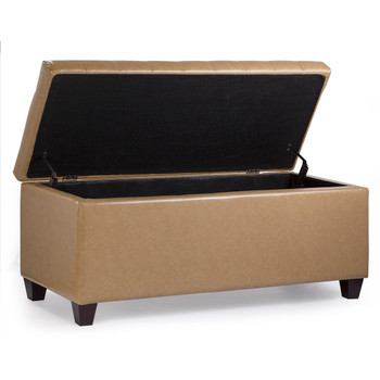 Finley 42 Inches Large Modern Elegant Leather Rectangle Storage Ottoman (Brown)