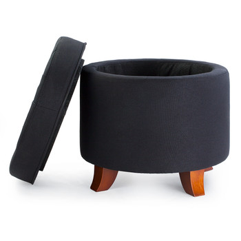 Ivy 18 Inches Modern Linen Fabric Round Storage Ottoman(Black)