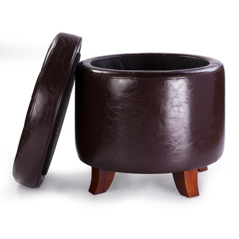 Zola 18 Inches Modern Elegant Leather Round Storage Ottoman(Chocolate))
