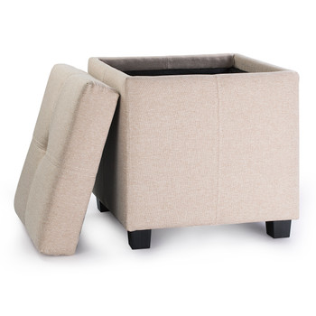 Victoria 18 Inches Modern Linen Fabric Square Storage Ottoman(Brown)
