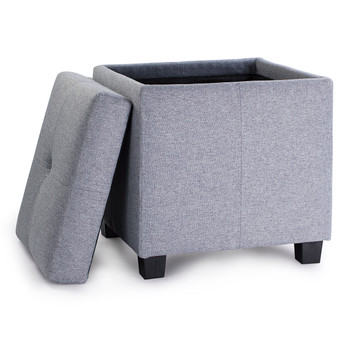 Victoria 18 Inches Modern Linen Fabric Square Storage Ottoman(Grey)