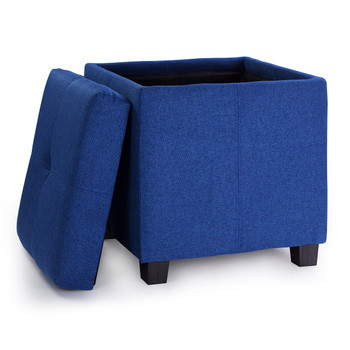 Victoria 18 Inches Modern Linen Fabric Square Storage Ottoman(Blue)