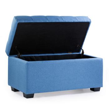 Luna 36 Inches Large Modern Linen Fabric Rectangle Storage Ottoman(Blue)