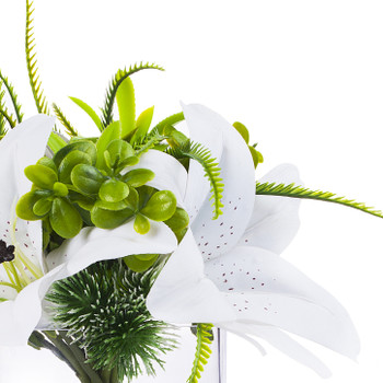 3 large  White Real Touch Tiger Lily with Mixed Greenery in Clear Glass Vase