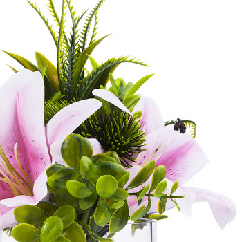 3 large  Pink Real Touch Tiger Lily with Mixed Greenery in Clear Glass Vase