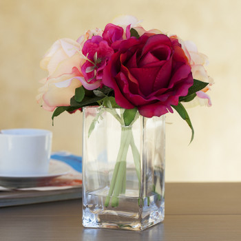 Red Beige Silk Rose and Hydrangea Flower Arrangement in Glass Vase With Faux Water