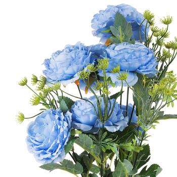 7 Heads Mixed High Quality Silk Combination Peonies Bush(Blue)