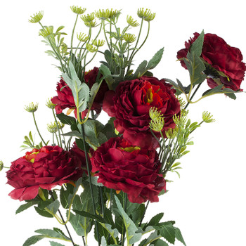 Mixed High Quality Silk Combination Peonies Bush(Red)