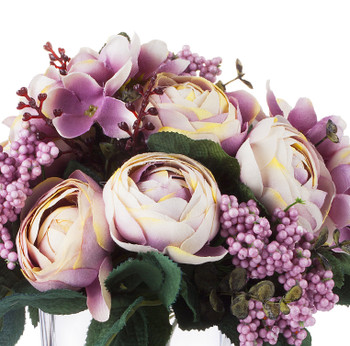 Mixed High Quality Silk Combination Ranunculus Bush(Purple)