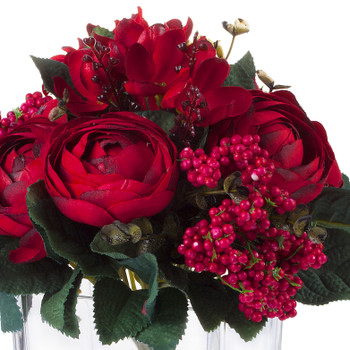 Mixed High Quality Silk Combination Ranunculus Bush(Red)