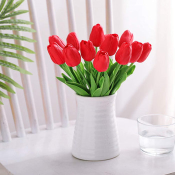 20 Pcs  Artificial PU Real Touch Tulips Flower Stems (Red)