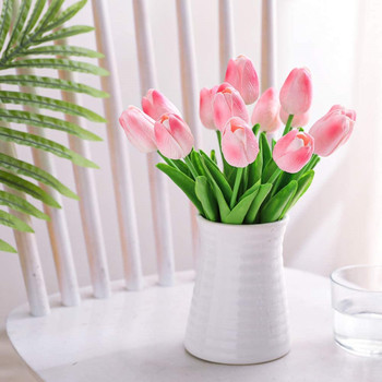 20 Pcs  Artificial PU Real Touch Tulips Flower Stems (Pink)