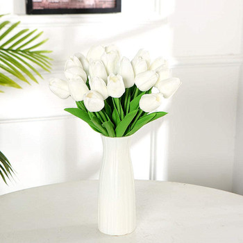 20 Pcs  Artificial PU Real Touch Tulips Flower Stems (White)