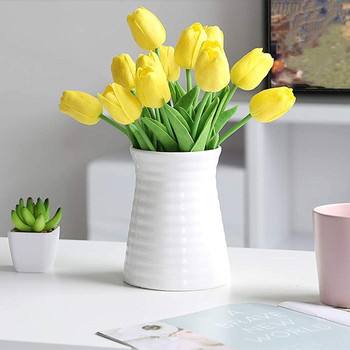 20 Pcs  Artificial PU Real Touch Tulips Flower Stems (Yellow)
