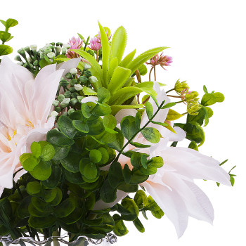 Artificial Pink Dahlia Flower and Greenery Grass  in Clear Glass Vase With Faux Water