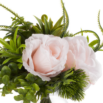 Artificial Pink Rose Flower and Mixed Eucalyptus Grass  in Clear Glass Vase With Faux Water