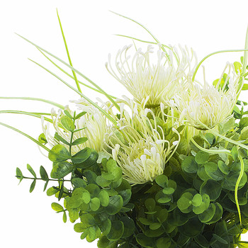 Artificial Cream Peony Flower and Eucalyptus Grass  in Clear Glass Vase With Faux Water