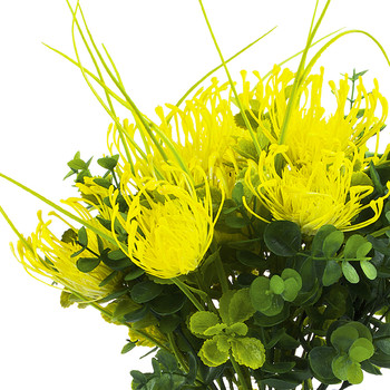 Artificial Yellow Peony Flower and Eucalyptus Grass  in Clear Glass Vase With Faux Water