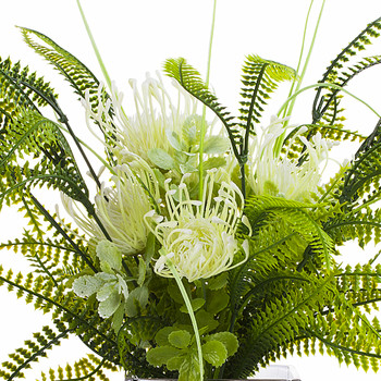 Artificial Cream Peony Flower and Fern Grass  in Clear Glass Vase With Faux Water