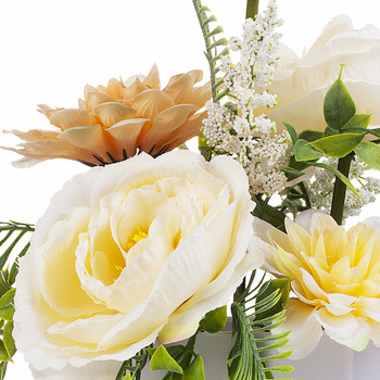 Mixed Artificial Peony and Dahlia Flower Arrangement  in White Pot (Beige)
