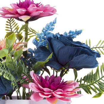 Artificial Peony and Dahlia Flower Arrangement  in White Pot (Pink Blue)