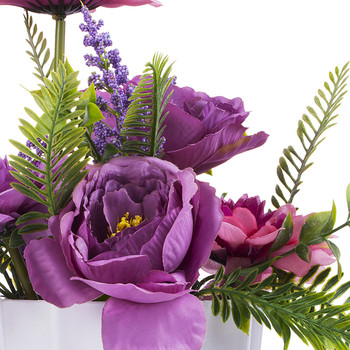 Artificial Peony and Dahlia Flower Arrangement  in White Pot (Purple)