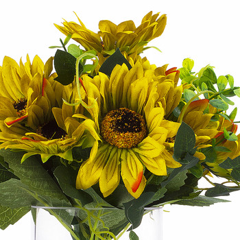 Artificial Yellow Green Sunflower Arrangement in Clear Glass Vase With Faux Water