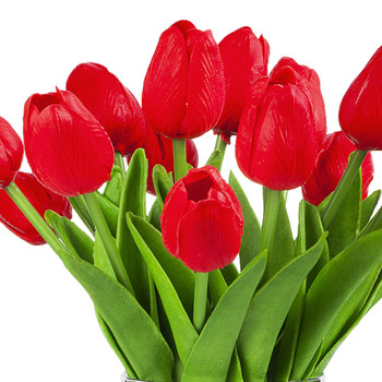 Artificial Real Touch Tulips Flower Arrangement in Clear Glass Vase With Faux Water(Red)