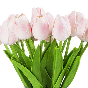 Artificial Real Touch Tulips Flower Arrangement in Clear Glass Vase With Faux Water(Pink)